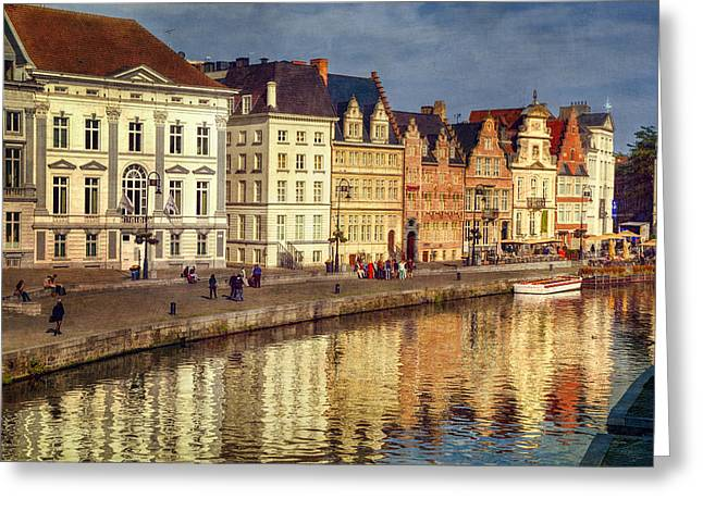 Europe Greeting Cards - Ghent Waterfront Greeting Card by Joan Carroll