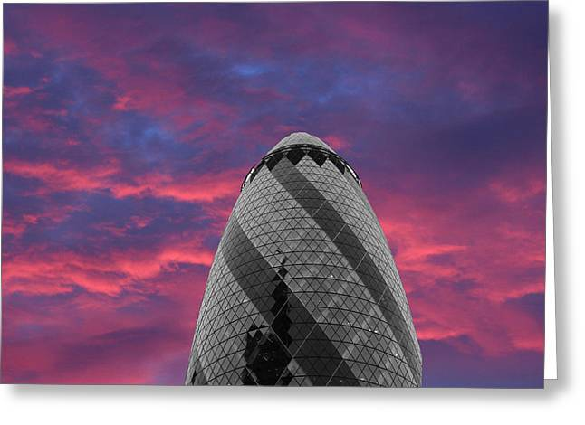 Glass Building Greeting Cards - Gherkin London Greeting Card by Martin Newman