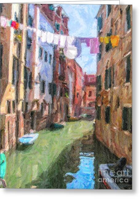 Venezia Greeting Cards - Ghetto canal Venice Italy Greeting Card by Liz Leyden