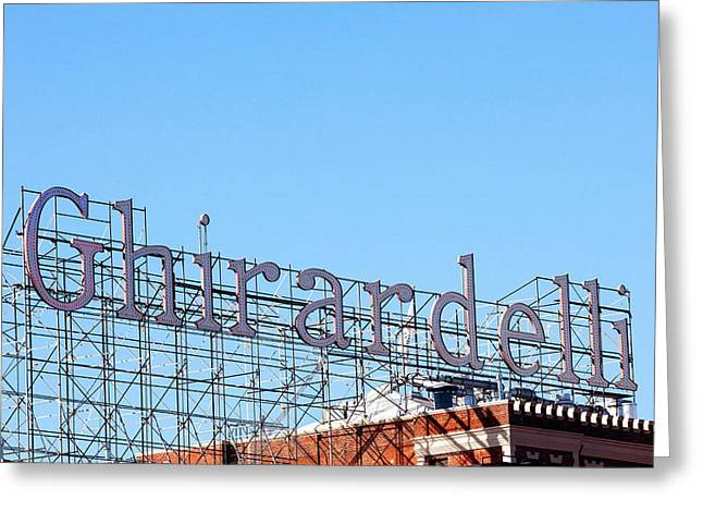 Ghirardelli Chocolate Greeting Cards - Ghirardelli Square Sign Greeting Card by Art Block Collections