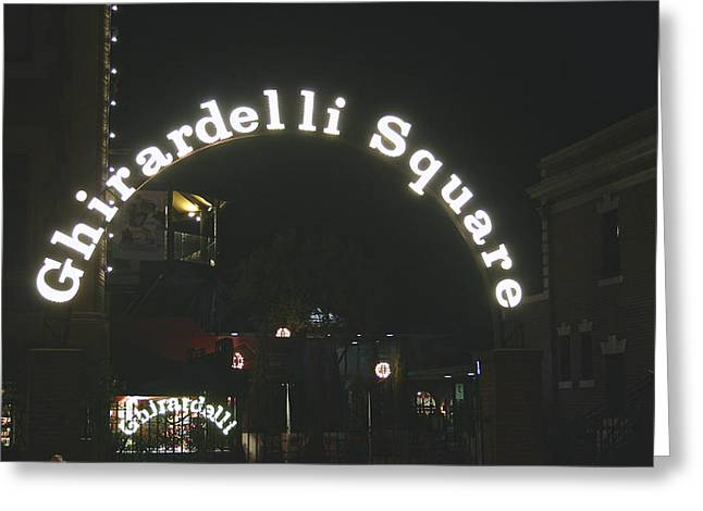 Signed Pyrography Greeting Cards - Ghirardelli Square Signs Greeting Card by DUG Harpster