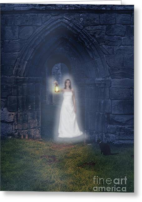 Halloween Night Greeting Cards - Ghost At The Abbey Greeting Card by Amanda And Christopher Elwell