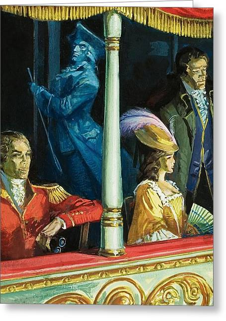 18th Century Greeting Cards - Ghost At The Theatre Greeting Card by Andrew Howat