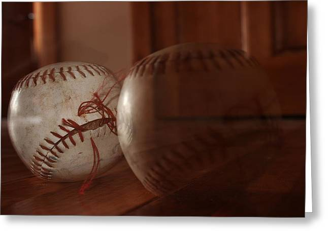 Baseball Pyrography Greeting Cards - Ghost Baseball Greeting Card by Emily Newby