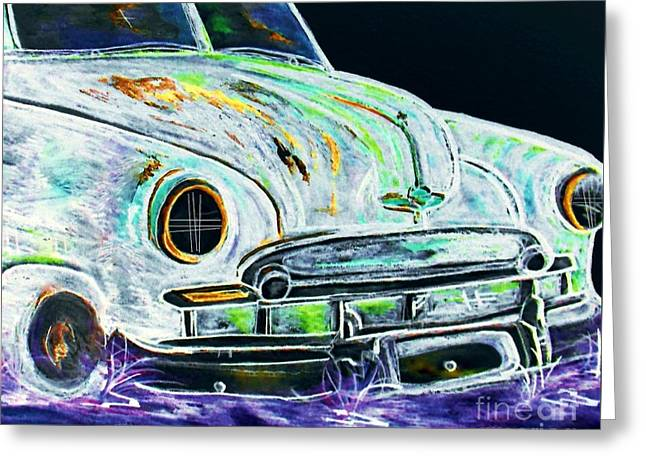 Collector Car Mixed Media Greeting Cards - Ghost Car Greeting Card by Eloise Schneider