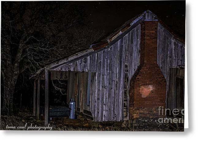 Ghostly Barn Greeting Cards - Ghost Cowboy at the Old Ranch House Greeting Card by Toma Caul