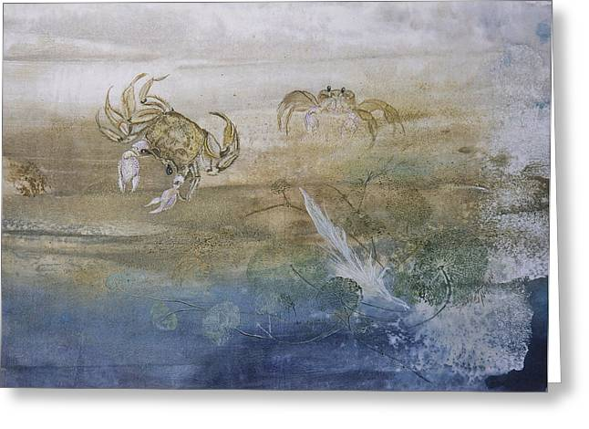 Fish Rubbing Greeting Cards - Ghost Crab Greeting Card by Nancy Gorr