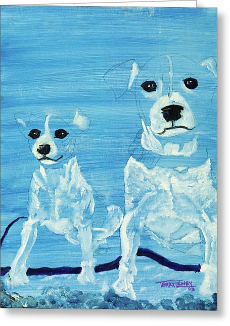 Abstact Realism Greeting Cards - Ghost Dogs Greeting Card by Terry Lewey