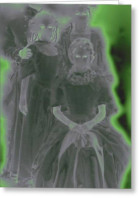 Samhaim Greeting Cards - Ghost Family Portrait Greeting Card by First Star Art