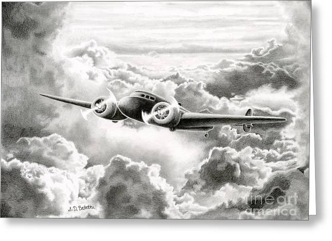 Photo Realism Drawings Greeting Cards - Ghost Flight- Amelia Earhart Greeting Card by Sarah Batalka