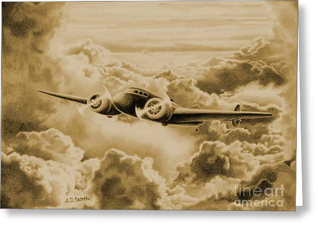 Ghost Flight- Amelia Earhart Sepia Greeting Card by Sarah Batalka