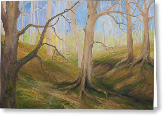 Tree Roots Paintings Greeting Cards - Ghost Forest I Greeting Card by Wendy Le Ber