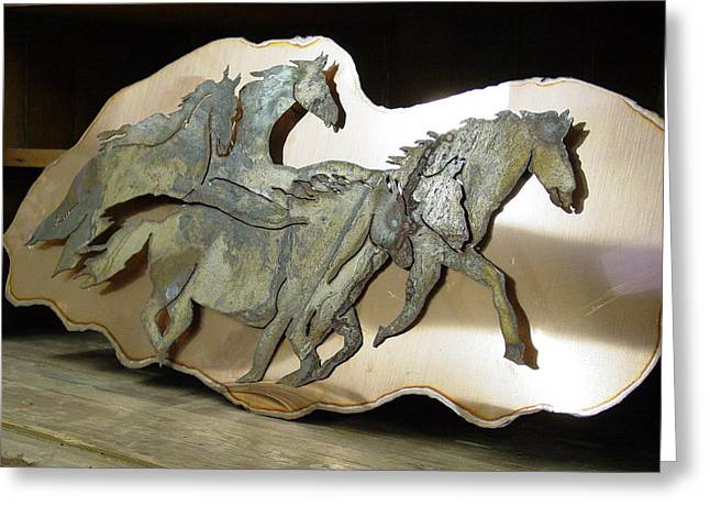 Wild Horse Sculptures Greeting Cards - Ghost Heard Greeting Card by Steve Mudge