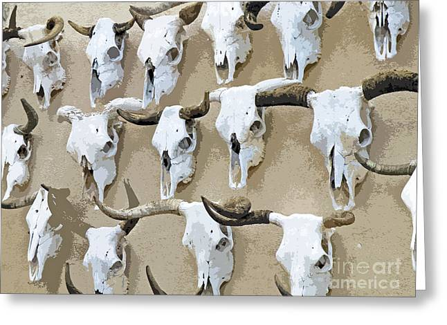 Photography By Joe Jake Pratt Greeting Cards - Ghost Herd On The Wall Greeting Card by Joe Jake Pratt