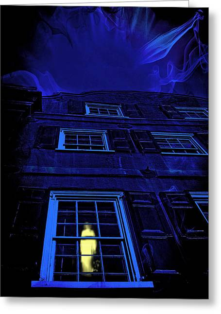 Fright Night Greeting Cards - Ghost in the Window Greeting Card by Wendy Mogul