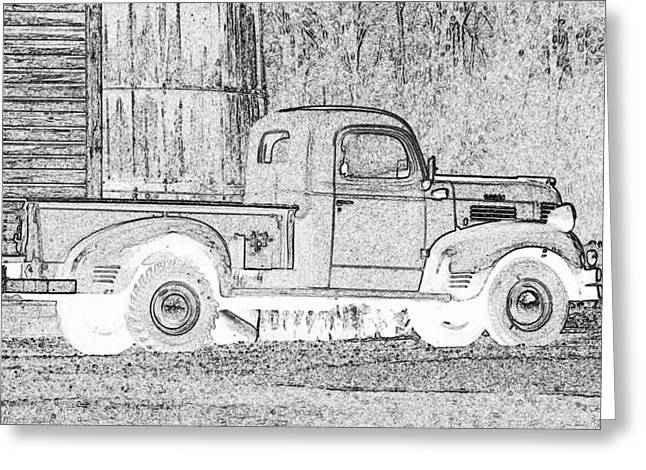 Old Barn Drawing Greeting Cards - Ghost of a Truck Greeting Card by Jean Noren