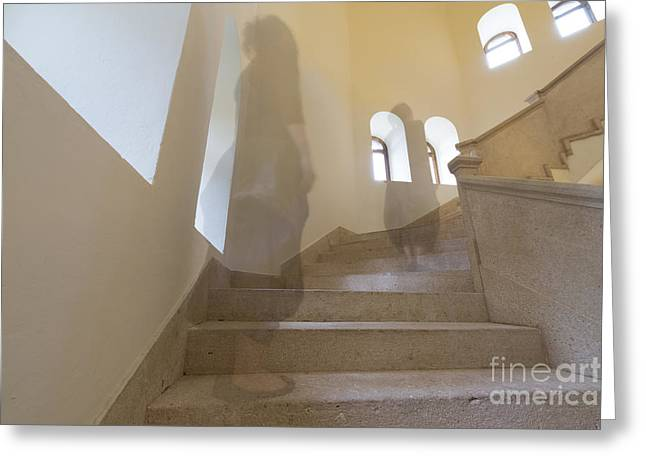 Flight Of Stairs Greeting Cards - Ghost on the stairs Greeting Card by Mats Silvan