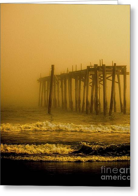 Foggy Beach Greeting Cards - Ghost Pier Greeting Card by Tom Gari Gallery-Three-Photography