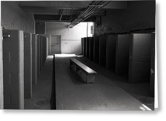 Bench Prison Greeting Cards - Ghost Prison Shower Area Greeting Card by Daniel Hagerman