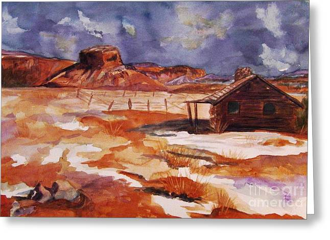 Log Cabin Interiors Greeting Cards - Ghost Ranch NM Winter  Greeting Card by Ellen Levinson
