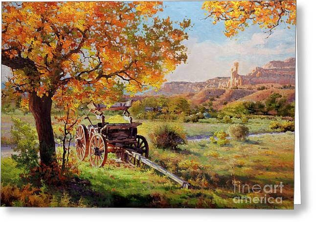 Wooden Building Paintings Greeting Cards - Ghost Ranch Old Wagon Greeting Card by Gary Kim