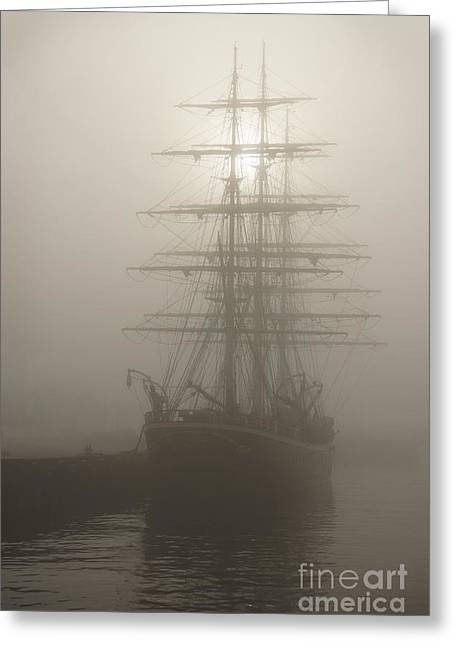 Ghostly Greeting Cards - Ghost Ship Greeting Card by Inge Riis McDonald