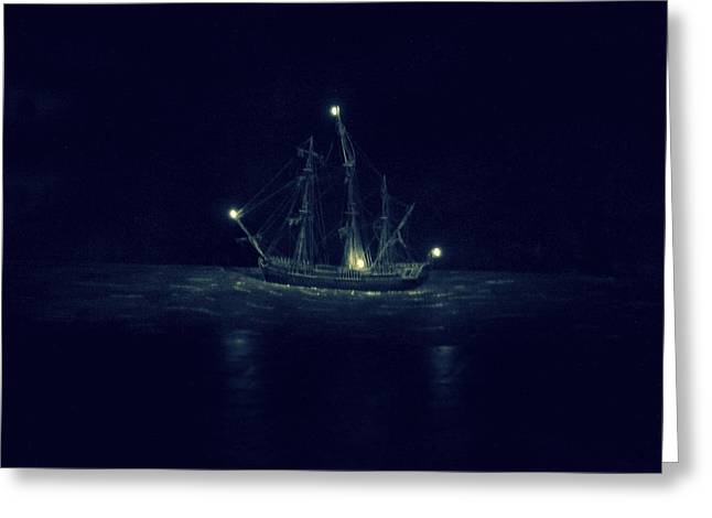 Pirates Greeting Cards - Ghost Ship Greeting Card by Laurie Perry