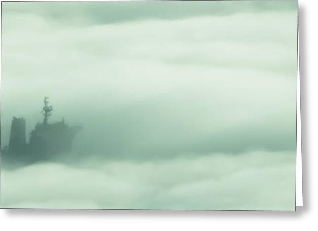 Foggy Ocean Greeting Cards - Ghost Ship Greeting Card by R J Ruppenthal