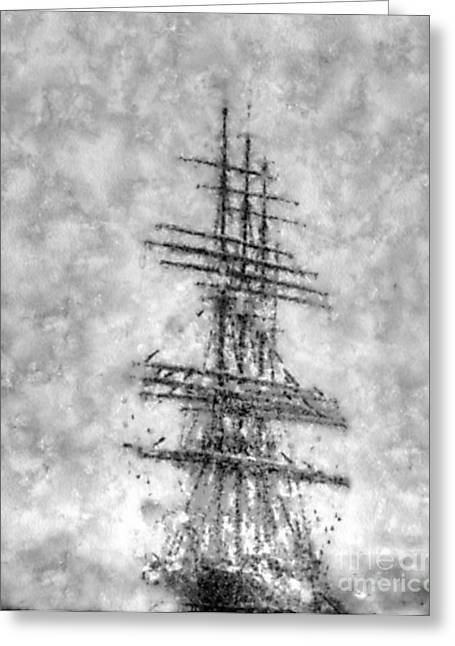 Ghosts Pyrography Greeting Cards - Ghost ship Greeting Card by Yury Bashkin