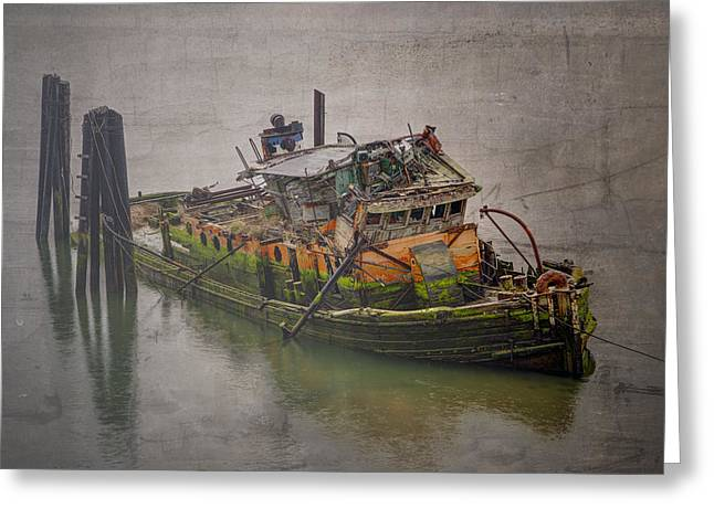 Foggy Beach Greeting Cards - Ghost Steamer Greeting Card by Debra and Dave Vanderlaan