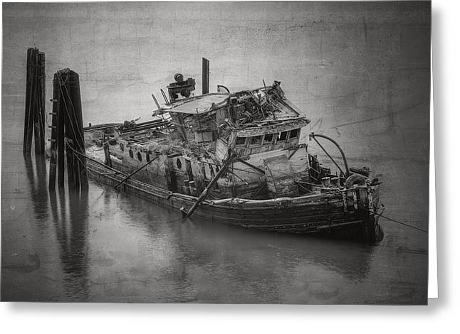Wooden Ship Greeting Cards - Ghost Steamer in BW Greeting Card by Debra and Dave Vanderlaan