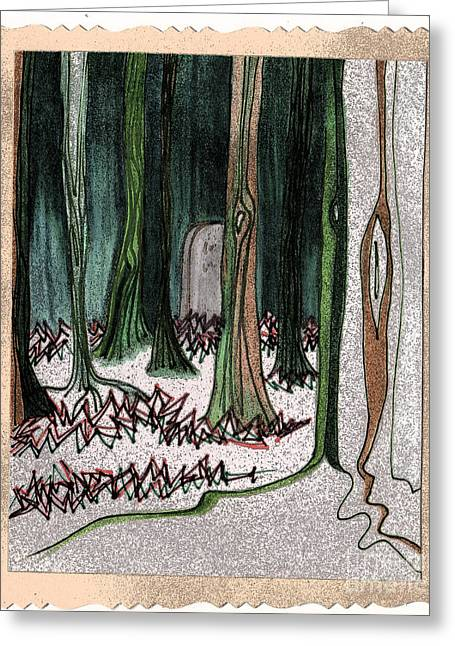 Samhaim Greeting Cards - Ghost Stories Forest Graveyard by jrr Greeting Card by First Star Art