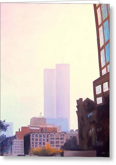 Wtc 11 Paintings Greeting Cards - Ghost Towers Greeting Card by Richard Weinberger