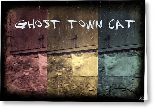 Ghost Town Cat Greeting Card by Absinthe Art By Michelle LeAnn Scott