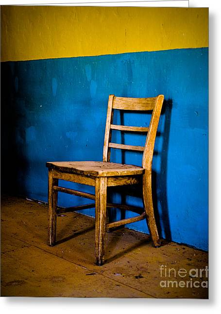 Terlingua Texas Greeting Cards - Ghost Town Chair Greeting Card by Sonja Quintero