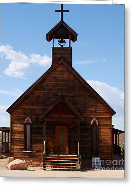 Town Mixed Media Greeting Cards - Ghost Town Church  Greeting Card by Beverly Guilliams