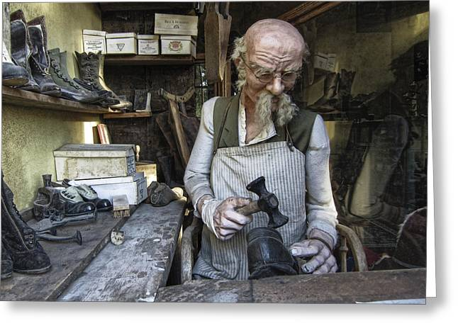 Work Bench Greeting Cards - Ghost Town Cobbler - Virginia City - Montana Greeting Card by Daniel Hagerman