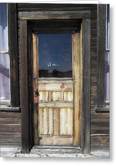 Cabin Window Digital Art Greeting Cards - Ghost Town Handcrafted Door Greeting Card by Daniel Hagerman