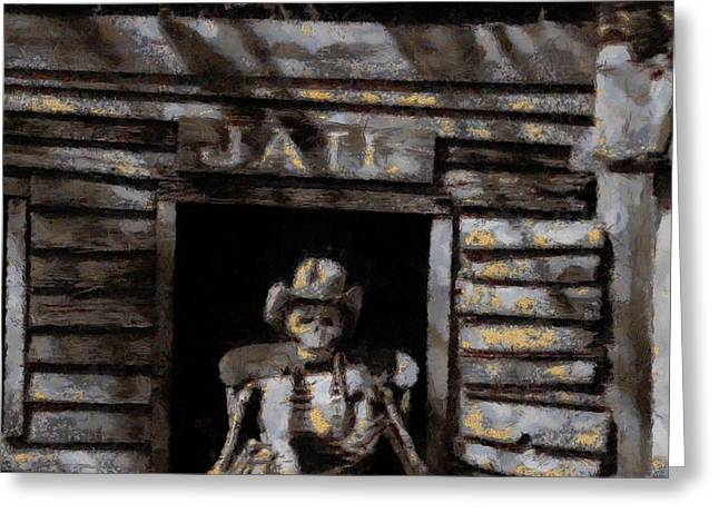 Town Mixed Media Greeting Cards - Ghost Town Jail Greeting Card by Dan Sproul