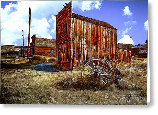 Wooden Building Mixed Media Greeting Cards - Ghost Towns in the SouthWest Greeting Card by  Bob and Nadine Johnston