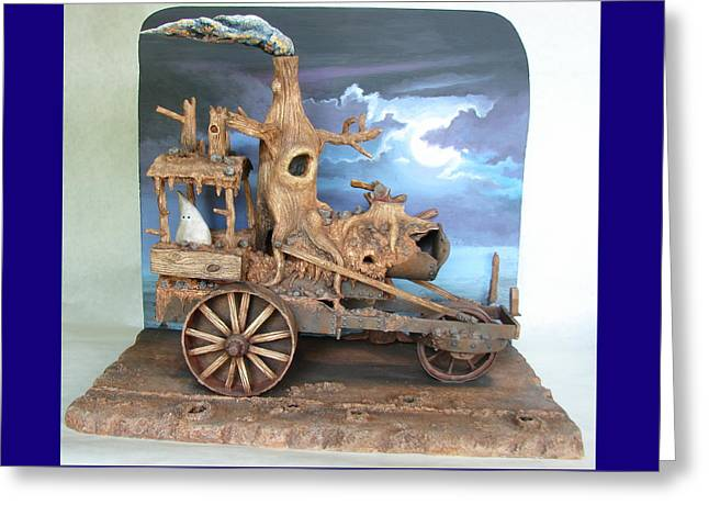 Old Sculptures Greeting Cards - Ghost Tractor Greeting Card by Stuart Swartz