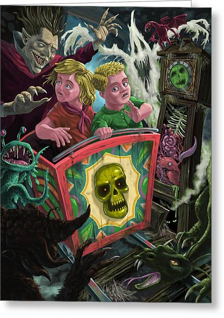 Ghost Illustration Greeting Cards - Ghost Train Fun Fair Kids Greeting Card by Martin Davey