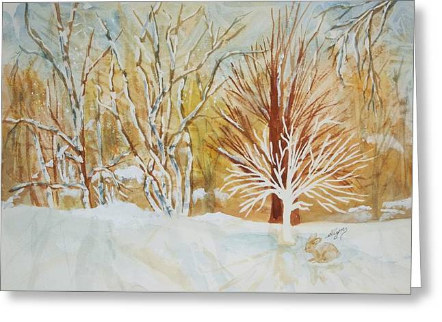 Snow-covered Landscape Greeting Cards - Ghost Tree Greeting Card by Ellen Levinson