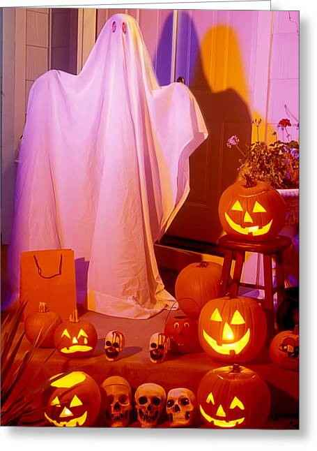 Autumn Sheets Greeting Cards - Ghost with pumpkins Greeting Card by Garry Gay
