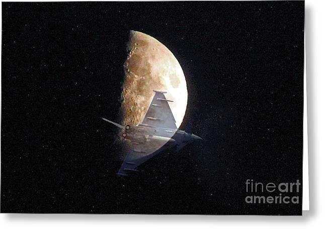 Ghostly Eurofighter against a full moon Greeting Card by Peter McHallam