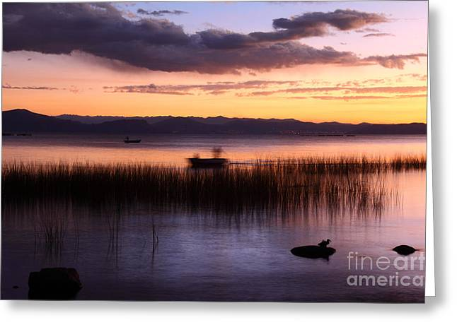 Reed Bed Greeting Cards - Ghostly Fisherman on Lake Titicaca Greeting Card by James Brunker