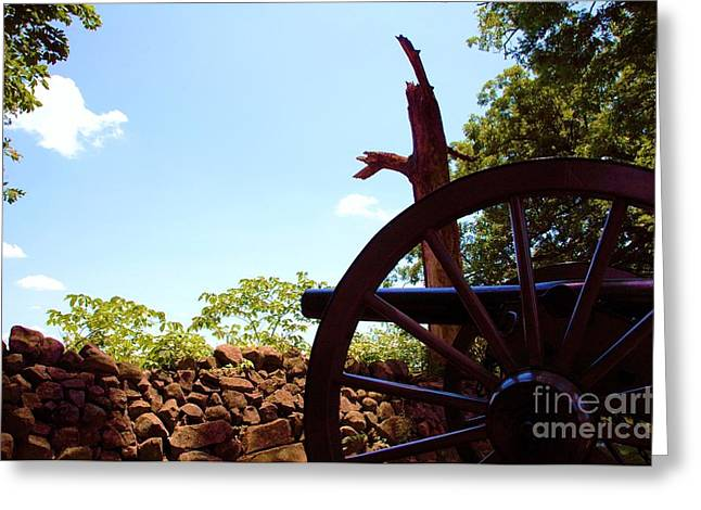 Civil War Battle Site Greeting Cards - Ghosts Of Gettysburg - Cannon And Stone Wall Greeting Card by Susan Carella