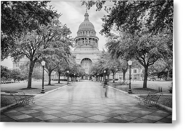 Architectural Photography Greeting Cards - Ghosts of the Texas State Capitol - Austin Texas Skyline Greeting Card by Silvio Ligutti