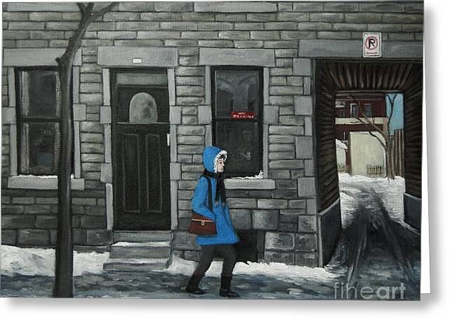 Montreal Street Scenes Paintings Greeting Cards - Ghosts of Winter Past Greeting Card by Reb Frost