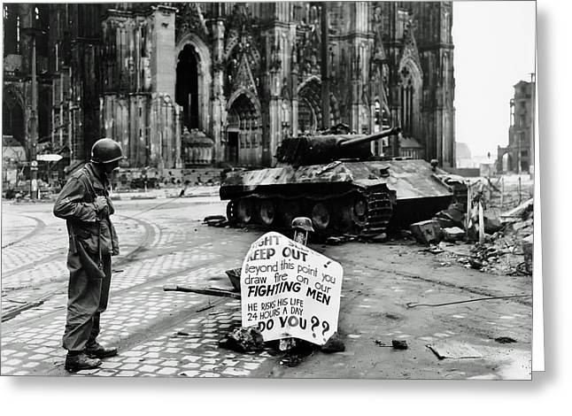 Gi Photographs Greeting Cards - GI Warning Sign in Cologne during World War II Greeting Card by Mountain Dreams